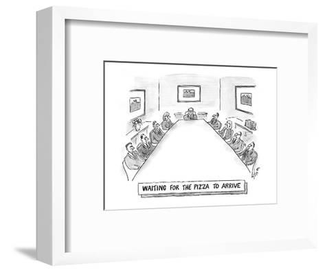 Waiting for the pizza to arrive' - Cartoon-Frank Cotham-Framed Art Print