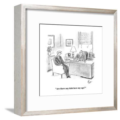 """""""Are there any kids here my age?"""" - Cartoon-Frank Cotham-Framed Art Print"""