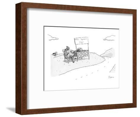 """A chicken sits next to a roadside stand with a bowl of eggs. The stand has?"""" - New Yorker Cartoon-Zachary Kanin-Framed Art Print"""