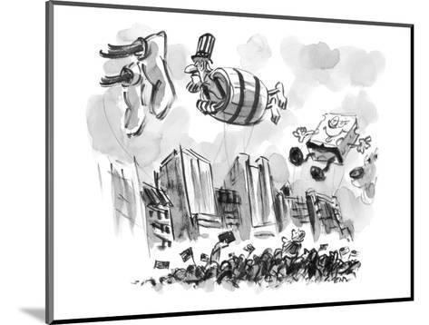 Uncle Sam in a barrel is a float in a parade. - New Yorker Cartoon-Lee Lorenz-Mounted Premium Giclee Print