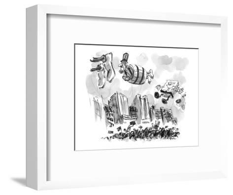 Uncle Sam in a barrel is a float in a parade. - New Yorker Cartoon-Lee Lorenz-Framed Art Print