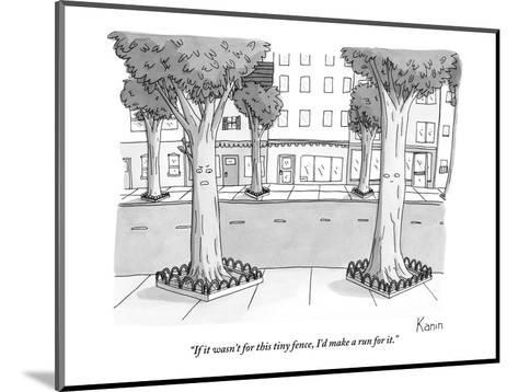 """""""If it wasn't for this tiny fence, I'd make a run for it."""" - New Yorker Cartoon-Zachary Kanin-Mounted Premium Giclee Print"""