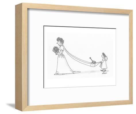 Flower girl holding brides train which is carrying a watering can. - Cartoon-J.P. Rini-Framed Art Print