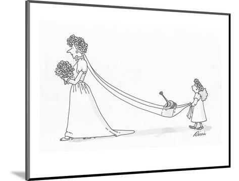 Flower girl holding brides train which is carrying a watering can. - Cartoon-J.P. Rini-Mounted Premium Giclee Print