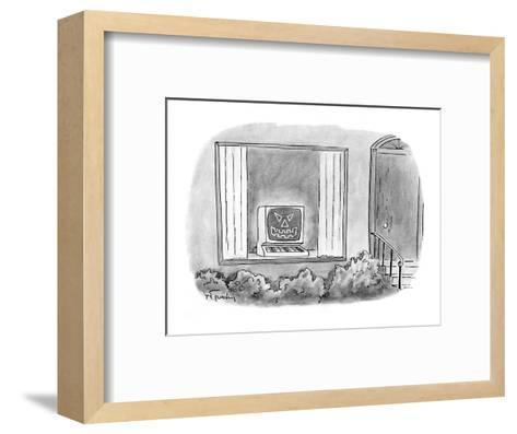 Computer jack-o'-lantern in window of house. - Cartoon-Mike Twohy-Framed Art Print