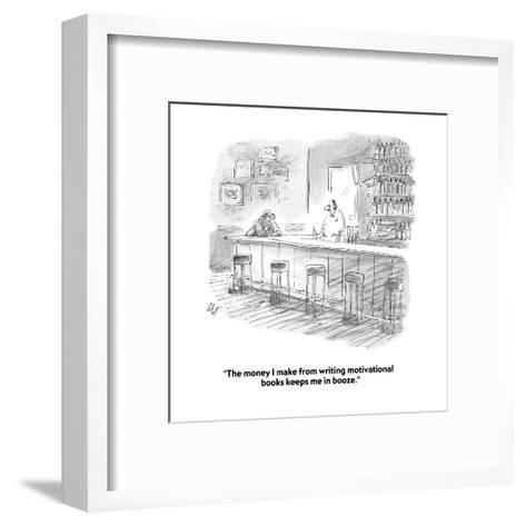 """The money I make from writing motivational books keeps me in booze."" - Cartoon-Frank Cotham-Framed Art Print"