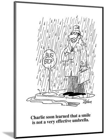 Charlie soon learned that a smile is not a very effective umbrella.  - Cartoon-Bob Zahn-Mounted Premium Giclee Print