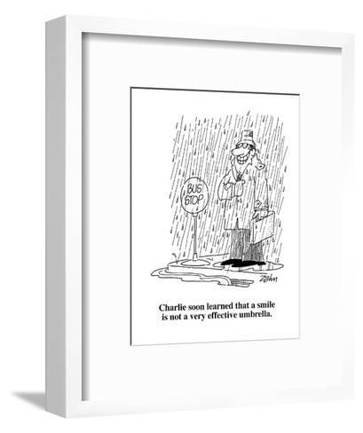 Charlie soon learned that a smile is not a very effective umbrella.  - Cartoon-Bob Zahn-Framed Art Print