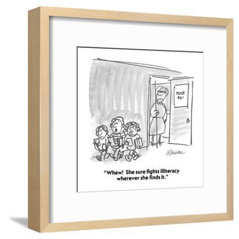 """Whew!  She sure fights illiteracy wherever she finds it."" - Cartoon-Boris Drucker-Framed Art Print"