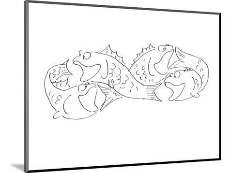 Group of fish chasing each others tail's. - Cartoon-Arnie Levin-Mounted Premium Giclee Print
