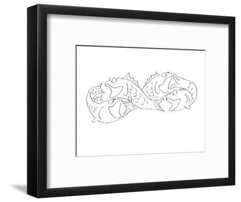 Group of fish chasing each others tail's. - Cartoon-Arnie Levin-Framed Art Print