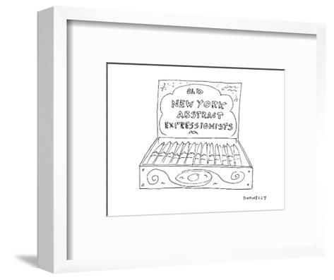 An open cigar box has a label on its inside cover that reads 'Old  New Yor? - Cartoon-Liza Donnelly-Framed Art Print