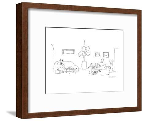 At a desk where the secretary is sitting there is a sign that reads 'WARNI? - Cartoon-Liza Donnelly-Framed Art Print
