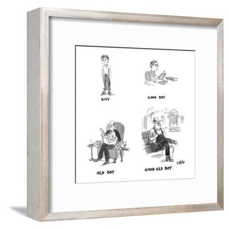 """Four drawings: """"Boy,"""" a child; """"Good Boy,"""" a child doing his homework; """"Ol? - New Yorker Cartoon-Warren Miller-Framed Art Print"""