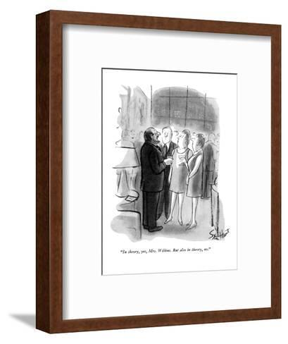 """""""In theory, yes, Mrs. Wilkins. But also in theory, no."""" - New Yorker Cartoon-Stan Hunt-Framed Art Print"""