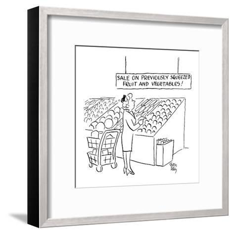 woman looks at sign in the produce section of a supermarket which reads 'S? - Cartoon-Chon Day-Framed Art Print
