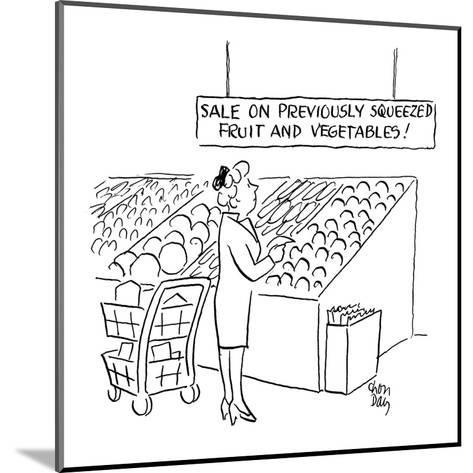 woman looks at sign in the produce section of a supermarket which reads 'S? - Cartoon-Chon Day-Mounted Premium Giclee Print