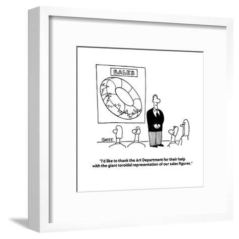 """I'd like to thank the Art Department for their help with the giant toroid?"" - Cartoon-Ted Goff-Framed Art Print"