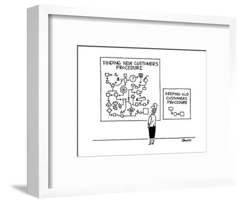 Woman stands before two charts on wall. The complicated one says 'Finding ? - Cartoon-Ted Goff-Framed Art Print
