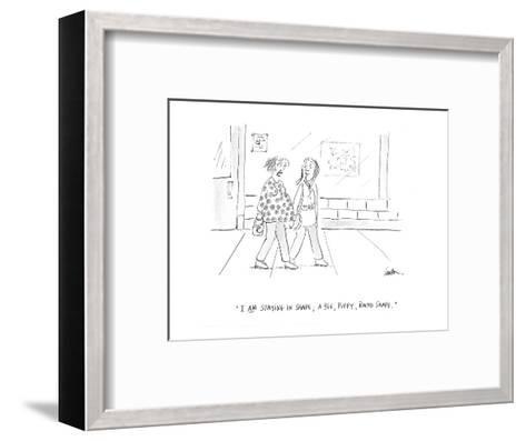 """""""I am staying in shape; a big, puffy, round shape."""" - Cartoon-Mary Lawton-Framed Art Print"""