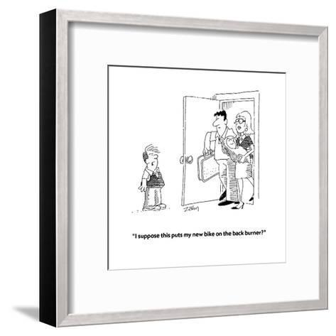 """I suppose this puts my new bike on the back burner?""  - Cartoon-Bob Zahn-Framed Art Print"