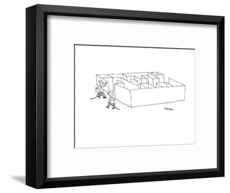 two mice with backpacks go on an expedition into a maze - Cartoon-Harley L. Schwadron-Framed Art Print