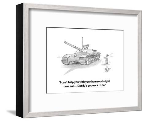"""""""I can't help you with your homework right now, son ? Daddy's got work to ?"""" - Cartoon-Frank Cotham-Framed Art Print"""