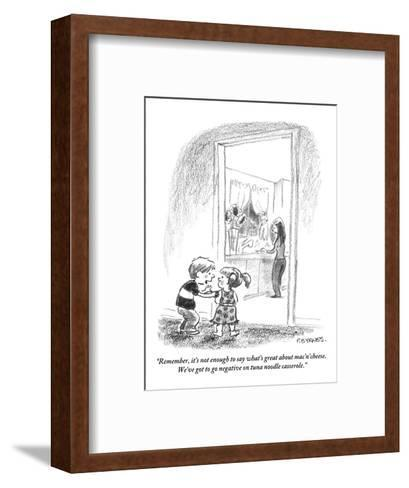 """""""Remember, it's not enough to say what's great about mac'n'cheese. We've g?"""" - New Yorker Cartoon-Pat Byrnes-Framed Art Print"""