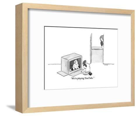 """We're playing YouTube."" - New Yorker Cartoon-Emily Flake-Framed Art Print"