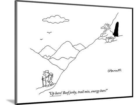 """""""Up here! Beef jerky, trail mix, energy bars!"""" - New Yorker Cartoon-Charles Barsotti-Mounted Premium Giclee Print"""