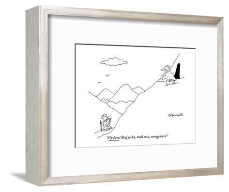 """Up here! Beef jerky, trail mix, energy bars!"" - New Yorker Cartoon-Charles Barsotti-Framed Art Print"