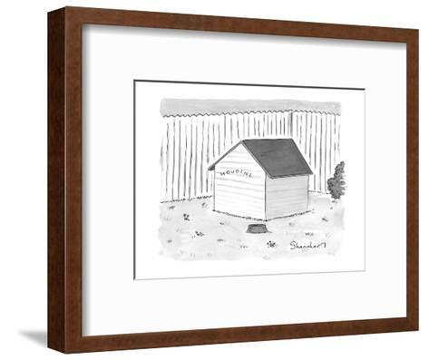 """A dog house with no doors is seen with the sign """"Houdini."""" - New Yorker Cartoon-Danny Shanahan-Framed Art Print"""