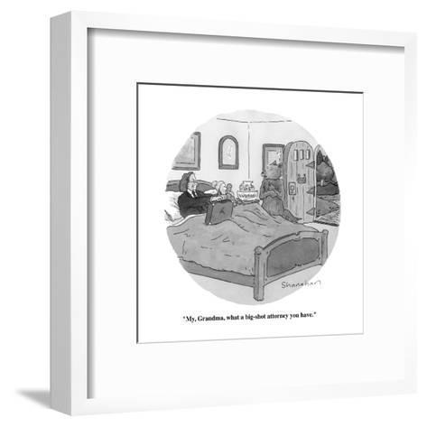 """My, Grandma, what a big-shot attorney you have."" - New Yorker Cartoon-Danny Shanahan-Framed Art Print"