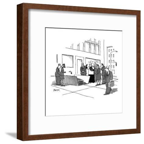 A funeral service being held in an open grate in the city street. - New Yorker Cartoon-Jack Ziegler-Framed Art Print
