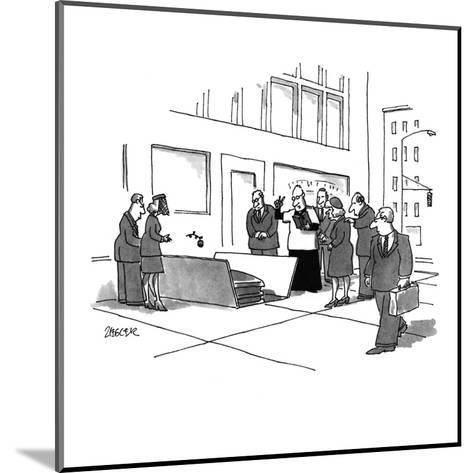 A funeral service being held in an open grate in the city street. - New Yorker Cartoon-Jack Ziegler-Mounted Premium Giclee Print