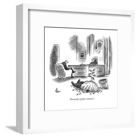 """Personally, I prefer cremation."" - New Yorker Cartoon-Frank Cotham-Framed Art Print"
