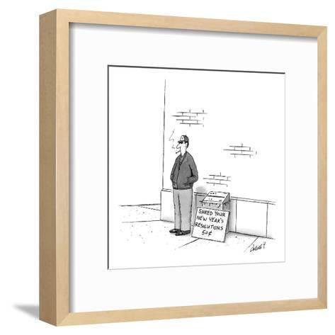 Man on street with paper shredder and sign that reads, 'Shred Your New Yea? - New Yorker Cartoon-Tom Cheney-Framed Art Print
