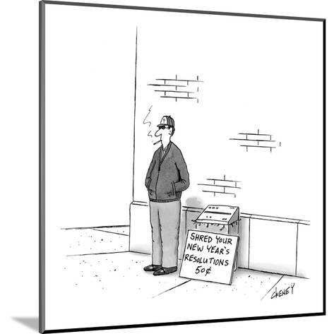 Man on street with paper shredder and sign that reads, 'Shred Your New Yea? - New Yorker Cartoon-Tom Cheney-Mounted Premium Giclee Print