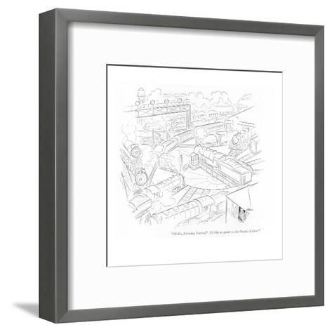 """Hello, Evening Journal? I'd like to speak to the Puzzle Editor."" - New Yorker Cartoon-Alain-Framed Art Print"