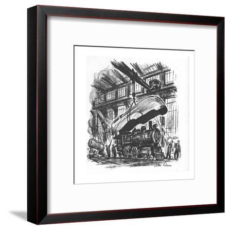 Streamlined hood is being put on an old steam engine. - New Yorker Cartoon-Alan Dunn-Framed Art Print