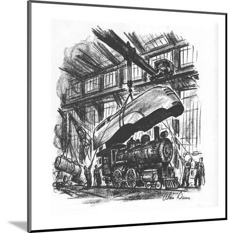 Streamlined hood is being put on an old steam engine. - New Yorker Cartoon-Alan Dunn-Mounted Premium Giclee Print