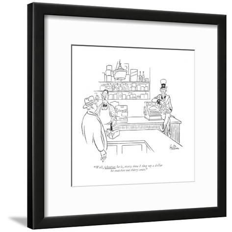 """""""Well, whoever he is, every time I ring up a dollar he snatches out thirty?"""" - New Yorker Cartoon-George Price-Framed Art Print"""