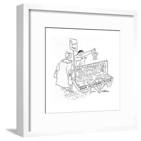 Street peddler with cart of children's clothes; sign on cart reads 'Pour L? - New Yorker Cartoon-Alain-Framed Art Print