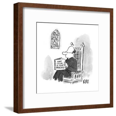 Priest reading a book entitled 'What Color Is Your Parachute?' - New Yorker Cartoon-Christopher Weyant-Framed Art Print