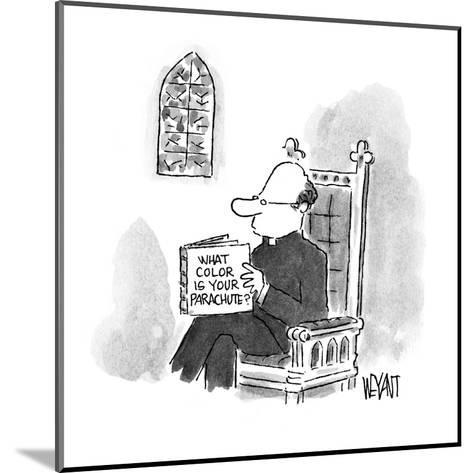 Priest reading a book entitled 'What Color Is Your Parachute?' - New Yorker Cartoon-Christopher Weyant-Mounted Premium Giclee Print