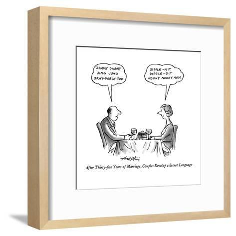 After Thirty-five Years of Marriage, Couples Develop a Secret Language - New Yorker Cartoon-Henry Martin-Framed Art Print