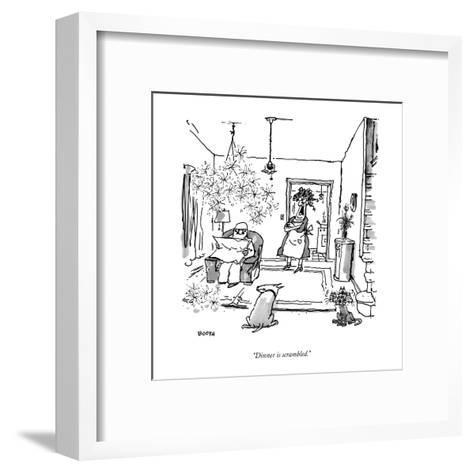 """Dinner is scrambled."" - New Yorker Cartoon-George Booth-Framed Art Print"