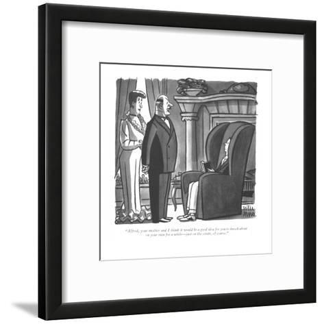 """""""Alfred, your mother and I think it would be a good idea for you to knock ?"""" - New Yorker Cartoon-Peter Arno-Framed Art Print"""