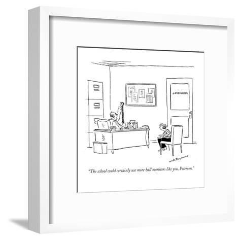 """""""The school could certainly use more hall monitors like you, Peterson."""" - New Yorker Cartoon-Nick Downes-Framed Art Print"""