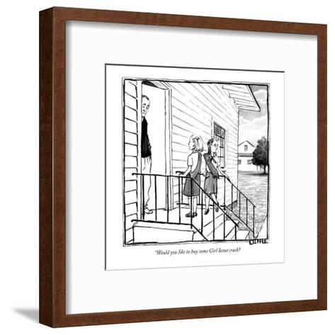 """""""Would you like to buy some Girl Scout crack? - New Yorker Cartoon-Matthew Diffee-Framed Art Print"""